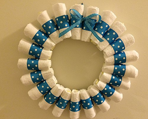 Baby Boy Diaper Wreath, Baby Shower Door Decor, Diaper Centerpiece, Its A Boy Shower Decorations, Blue Wreath, Baby Shower Sign]()