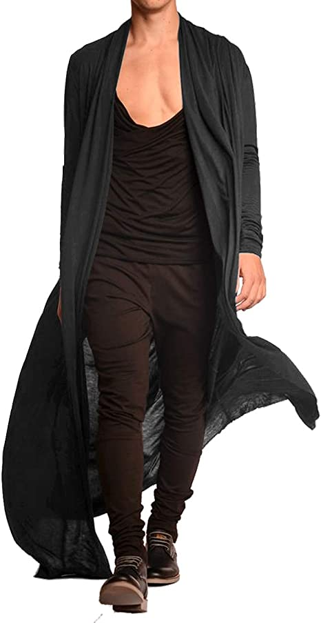 Mens Ruffle Shawl Collar Cardigan Jackets Open Front Outerwear Cotton Blend Long Drape Cape Poncho Trench Coat