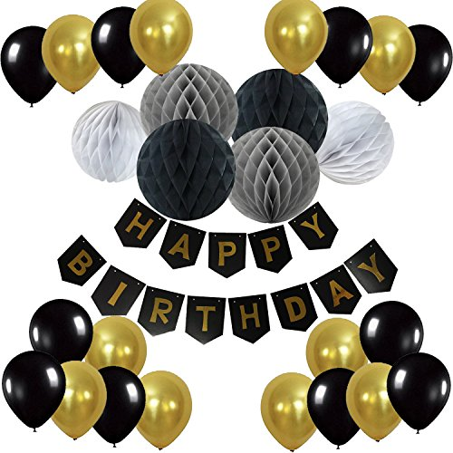 Cocodeko Happy Birthday Bunting Banner with 20 Pieces Latex Party Balloons and 6 Pieces Honeycomb Balls for Birthday Party Decorations - Black