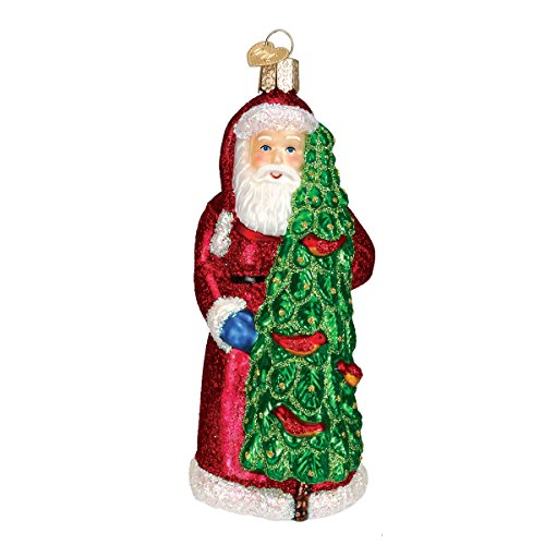 Old World Christmas Ornaments: Santa With Calling Birds Glass Blown Ornaments for Christmas Tree