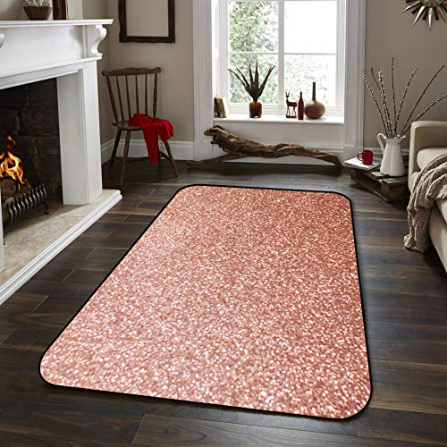 Large Area Rug for Living Room- Rose Pink Sparkling Glitter Soft Comfort Carpet Home Decorate Contemporary Runner Rugs, 4' x 6'