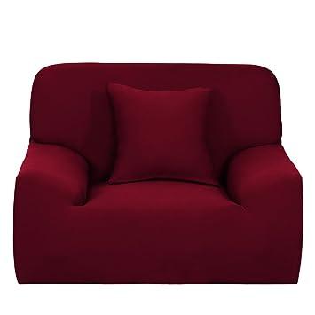 Amazon.com  Stretch Fabric Burgundy Sofa Cover Slipcovers for ... 368ca2eb4