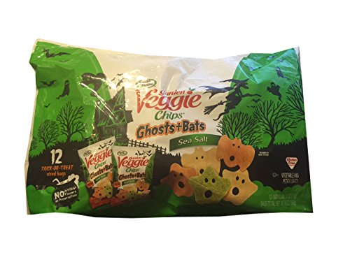 Garden Veggie Chips - Halloween Treat Bags - Shapes of Ghosts & Bats - Sea Salt Flavored 12 - .5 Oz Bags (Halloween Kid Snacks)