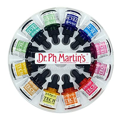Dr. Ph. Martin's TECH10OZSET1 TECH Drawing Ink, 1.0 oz, Set 1 Art Paints
