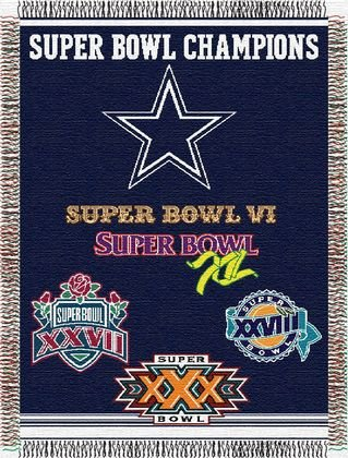 NFL Dallas Cowboys Woven Tapestry Throw - Super Bowl Champions Commemorative Series ()