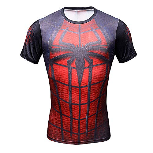 Batman Basketball - CoolMore Super Hero Compression T Shirts Short Sleeve Tops Tee for Men for Sports Gym Runing Base Layer (Spiderman Red 1, XL)