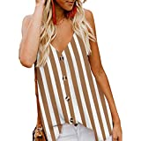 CofeeMO Women's V Neck Stripe Printed Sexy Summer Camis Tops,Casual Low Cut Button Sleeveless Shirts(Brown,L)