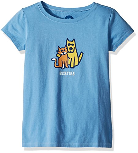 Life is Good Girls Crusher Graphic T-Shirts Collection,Besties,Powder ()
