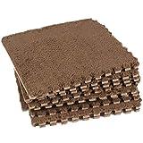 Dooboe Interlocking Floor Mats - Plush Area Rug - Foam Interlocking Floor Mats - Interlocking Carpet Tiles - Brown Area Rug- Non-Toxic, Anti-Fatigue, Premium Puzzle Floor Mat Borders