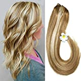 Clip in Hair Extensions Blonde Highlighted Human Hair Balayage Ombre Long Hair Extensions Strawberry Blonde with Bleach Blonde 14 inch 7 PCS Fine Hair Full Head 27/613 Silky Straight 70g Remy Hair