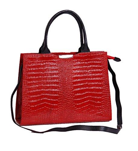 Aux femmes reel Sac en cuir Mesdames Croc Véritable Imprimer Sac à main structuré VANIA Rouge