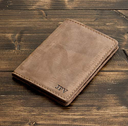 Pegai Personalized Passport Cover, Distressed Leather Passport Holder, Rustic Passport Case - DeKalb | Sand Brown
