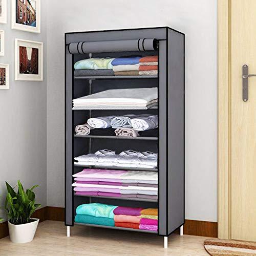 KEEKOS Stainless Steel Collapsible Wardrobe Clothes 6 Shelves Storage Rack  Grey