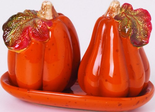 Harvest 3 Piece Dolomite Pumpkin Salt and Pepper Shaker with Tray Set