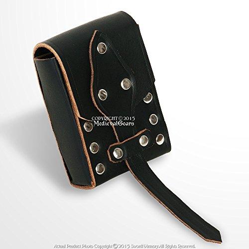 (Medieval Gears Brand Black Genuine Leather Belt Pouch Bag w/Strap Medieval Renaissance Costume Biker)