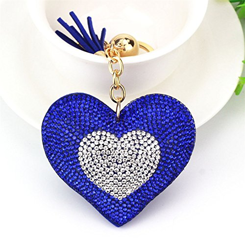 Double Love Heart Tassel Keychain Bag Handbag Key Ring Car Key Pendant -