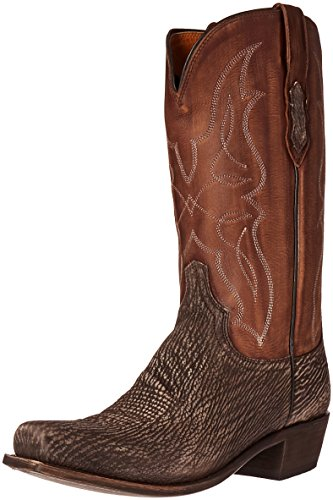 Lucchese Bootmaker Men's Carl-Chocolate Sanded Shark Riding Boot, 9.5 2E US
