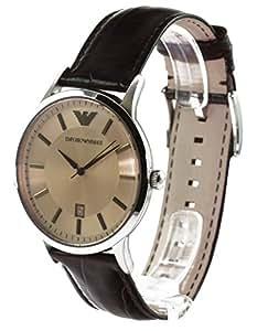 Emporio Armani Classic Renato AR2427 - Reloj analógico de cuarzo para hombre, correa de cuero color marrón