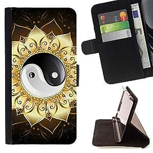 BullDog Case - FOR/Apple Iphone 5C / - / Ying Yang Floral Sign /- Monedero de cuero de la PU Llevar cubierta de la caja con el ID Credit Card Slots Flip funda de cuer