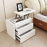 White can lift bedside table Simple bedside table [modern] Fashion two bucket cabinet Bright lacquer bedside table Bucket cabinet [lockers]-A