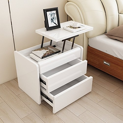 White can lift bedside table Simple bedside table [modern] Fashion two bucket cabinet Bright lacquer bedside table Bucket cabinet [lockers]-A by EWYGFRFVQAS
