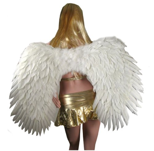 SACASUSA XXL Super Large White Feather Angel wings Unisex Men Women