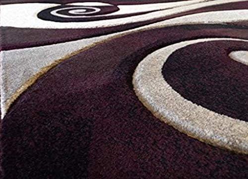 Sculpture Modern Area Rug Contemporary Burgundy Black Beige Abstract Design 258 8 Feet X 10 Feet 6 Inch