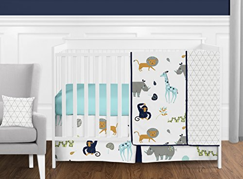 Sweet Jojo Designs 11-Piece Turquoise and Navy Blue Safari Animal Mod Jungle Baby Boy or Girl Crib Bedding Set without Bumper s by Sweet Jojo Designs