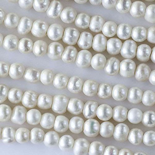 Cherry Blossom Beads White Fresh Water Pearls Grade B Large 2mm Hole 7-8mm Potato - 8 Inch - Strand Potato Freshwater Pearl