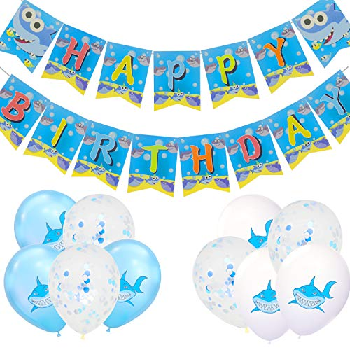 Tuoyi Blue Ocean Shark Birthday Party Supplies Balloons Set, 1 Pack Shark Happy Birthday Banner, 20pcs Multicolor Baby Shark Balloons 12