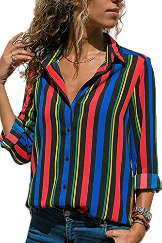 (Striped Button Down Shirts for Women Long Sleeve V Neck Chiffon Blouse Ladies Spring Loose Basic Tops for Work Casual Multicolor M)