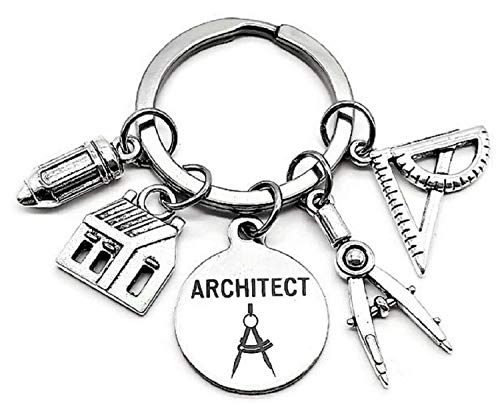Architect Keychain, Architectural Engineer Keychain, Architect Student, Architect Teacher, House Charm, Geometry Ruler, Compass, Ruler, Pencil Charm, Architect Gift, Architect Key Ring -  Kit's Kiss