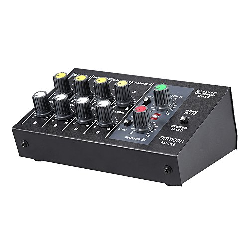 ammoon AM-228 Ultra-compact Low Noise 8 Channels Metal Mono Stereo Audio Sound Mixer with Power Adapter Cable (8 Channel Audio Mixer)