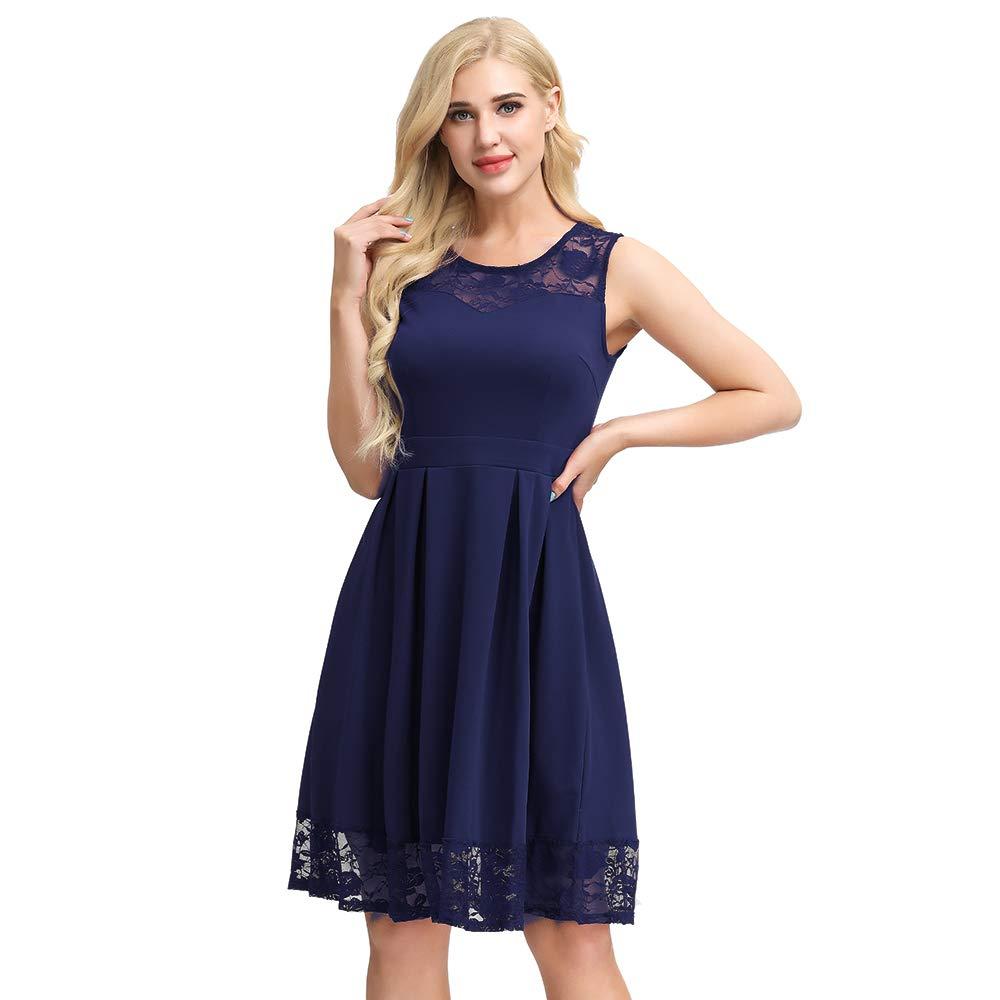 Sntieecr Damen Elegant Kleid Spitzenkleid Cocktailkleider Knielang Rockabilly Kleid Party Ballkleid Abendkleid