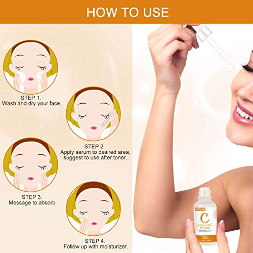 51kKlyWMFZL - Vitamin C Serum with Hyaluronic Acid and Vitamin E Anti-Aging Moisturizing Face Serum for All Skin