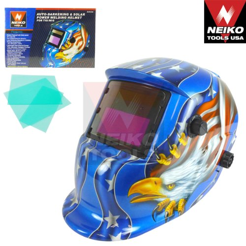 Auto-Darkening & Solar Power Welding Helmet For TIG/MIG - American Eagle