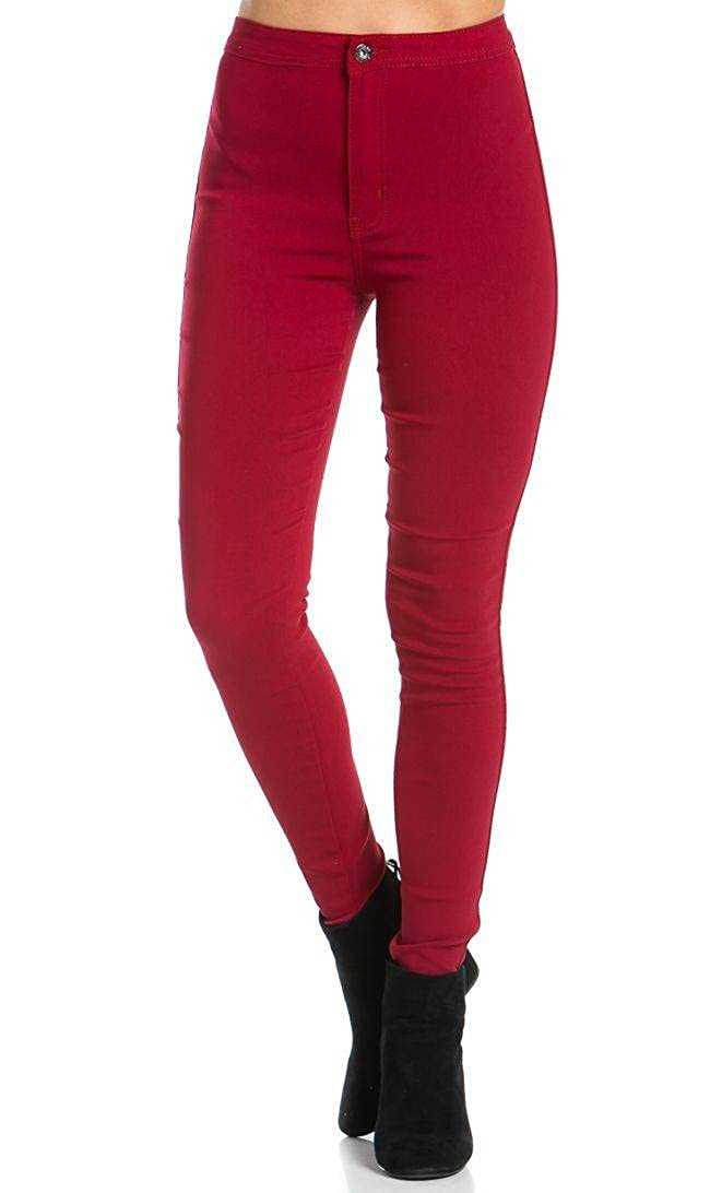 SOHO GLAM Super High Waisted Stretchy Skinny Jeans in Burgundy (S-XL) Sohogirl.com AHWSKNYABGY