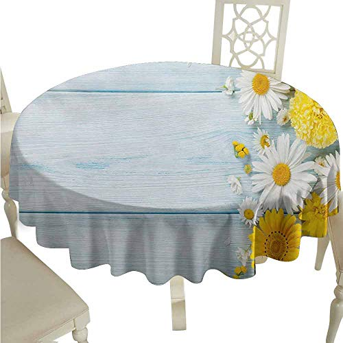 duommhome Yellow Flower Durable Tablecloth Seasonal Garden Flowers on Blue Wooden Planks Rustic Arrangement Print Easy Care D51 Yellow Pale Blue