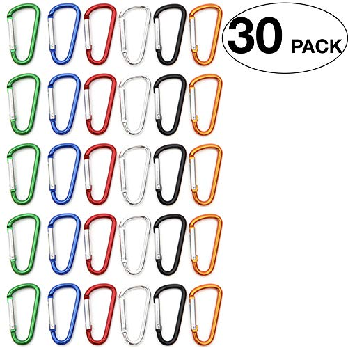 30 pcs Carabiner Clip Keychain Small Caribeaner Clip Keys Chain Aluminum D-Ring Mini Carabiner Camping Fishing 1.85 Carabiner Colors Randomly Mixed