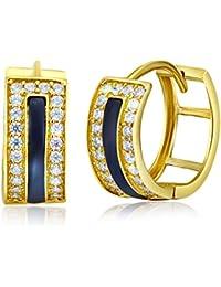 Ladies 14k Yellow Gold Polished Onyx x CZ Hinged Hoop Huggies Earrings (14 x 14 mm)