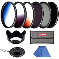 Beschoi 55mm 6pcs High-Precision Slim Neutral Density Filter Lens Filter Kit ( UV + FLD + ND4 ) + Graduated Color Filter for Nikon Canon DSLR Cameras with Lens Hood + Lens Cap + Filter Pouch