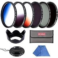 Beschoi 55mm 6pcs High-Precision Slim Neutral Density Filter Lens Filter Kit (UV + FLD + ND4) + Graduated Color Filter Nikon Canon DSLR Cameras Lens Hood + Lens Cap + Filter Pouch