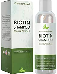 Natural Biotin Shampoo For Hair Growth and Strengthener - Hair Loss Treatment for Thinning Hair With Vitamin B5 Zinc - Premium Argan Oil for Men & Women - All Hair Types - Safe for Color Treated Hair