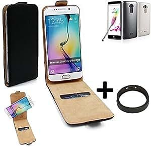 TOP SET: Caso Smartphone para LG Electronics G4 Stylus 3G cubierta del estilo del tirón 360°, negro + anillo protector, cubierta del tirón - K-S-Trade (TM)