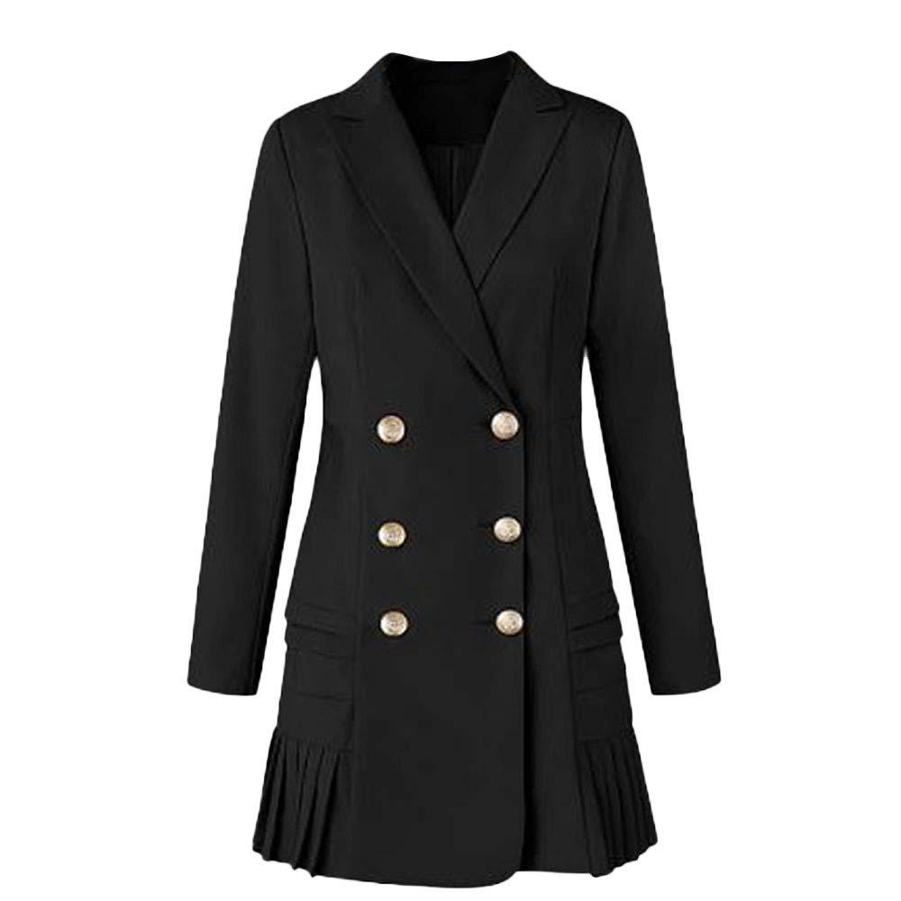 Women Coat and Jacket,Doric Women's Loose Solid Regular Linen Lapel Coat Trench Hem Skirt Button Coat Cardigan Tops Black