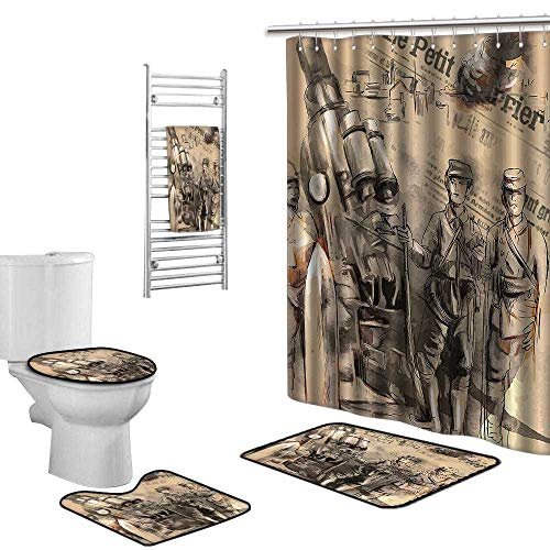 Bathroom Set Stand Before Large Howitzer Courage in Warfare Scenery from Battle Black Beige Non-Slip Carpet, Shower Curtain, Towel