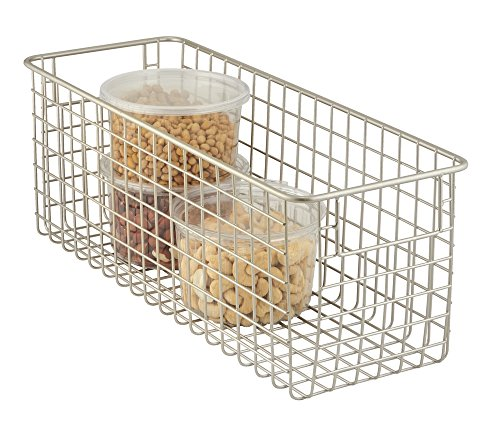 MDesign Wire Storage Basket For Kitchen, Pantry, Cabinets