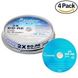 40 Pack Smartbuy 2X 25GB Blue Blu-ray BD-RE Rewritable Logo Blank Bluray Disc