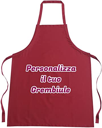 Grembiule da cuoca Bordeaux LaMAGLIERIA Grembiule da Cucina Personalizzato con Nome Regina della Cucina cod.apr12