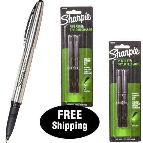 Sharpie Stainless Steel Pen 1800702 with 2 Packs Refills 1800730, Black Ink, Fine Point (1, DESIGN 1) by Sharpie (Image #1)